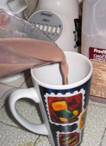 Pouring 1 cup of Chocolate Milk